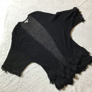 AE American Eagle black fringe open knit sweater